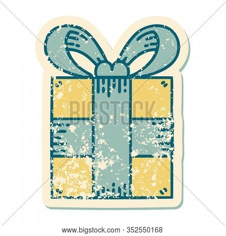 iconic distressed sticker tattoo style image of a present