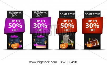Halloween Sale, Up To 50, Up To 30, Large Set Black Halloween Discounts Vertical Banners With Hallow