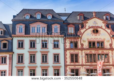 Mainz, Germany - August 04, 2019: Historic Facades Of Colorful Houses At The Market Square In Mainz,