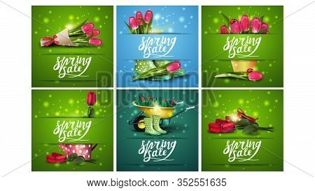 Spring Sale, Large Set Of Spring Square Discount Banners With Letterings And Spring Icons. Green And
