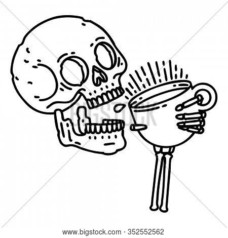 tattoo in black line style of a skull drinking coffee