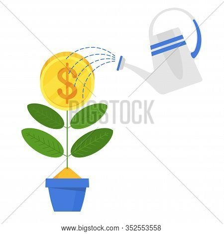 Businessman Is Watering A Money Tree. Concept Of Banks And Finance, Investment And Revenue Growth. F