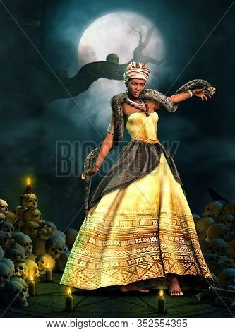 Beautiful Voodoo Queen With A Snake, Performing A Magical Ritual On An Altar Framed By Skulls And Ca
