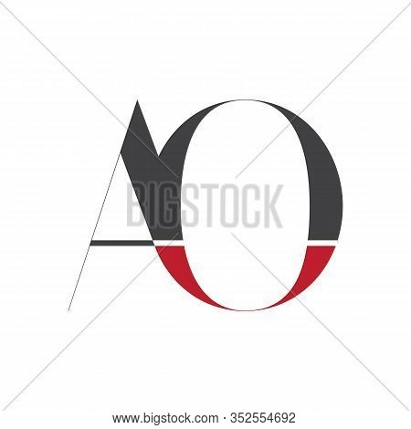Initial Middle Line Ao Letter Logo With Creative Typography Vector Template. Creative Abstract Lette