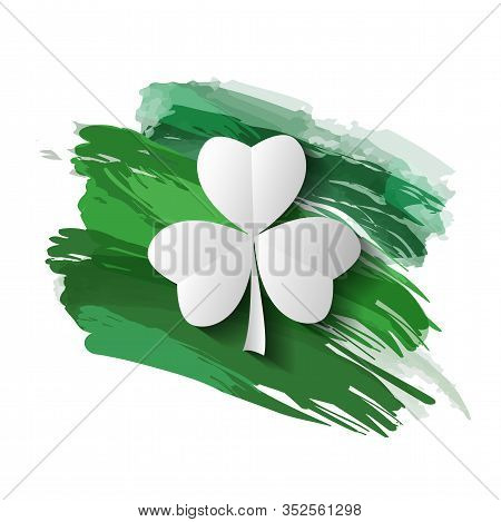 Clover On A Background Of Green Brushstrokes
