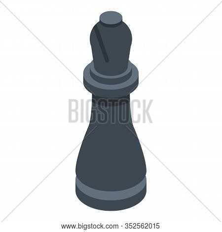 Black Chess Bishop Icon. Isometric Of Black Chess Bishop Vector Icon For Web Design Isolated On Whit