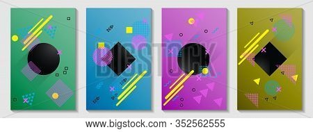 Memphis Cover Page Layouts Kit. Front Page Templates Vector Set With Geometric Shapes Uprising Motio