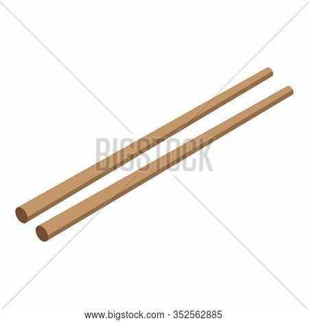 Wood Chopsticks Icon. Isometric Of Wood Chopsticks Vector Icon For Web Design Isolated On White Back