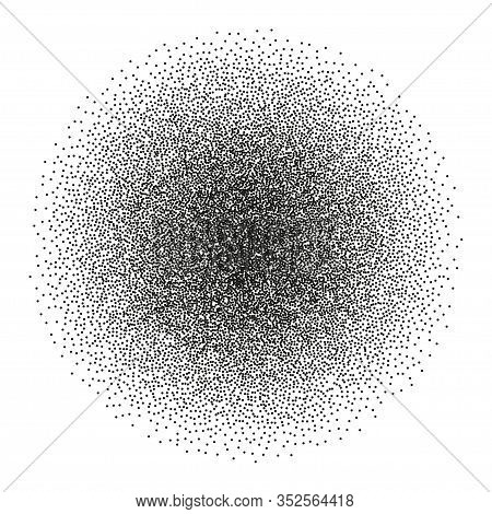 Stipple Spray Circle. Vector Ink Dotted Monochrome Texture. Halftone Round Gradient