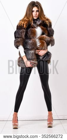 Pretty Fashionista. Woman Makeup And Hairstyle Posing Mink Or Sable Fur Coat. Fur Fashion Concept. W