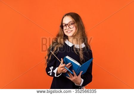 School Education Concept. Private College. Nerd Lifestyle. Cute Kid Studying. Basic Education. Stude