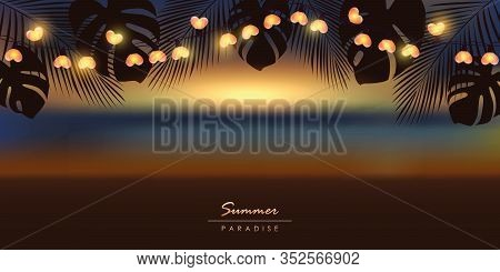 Tropical Sunset Summer Paradise Background With Fairy Light And Palm Leaves Vector Illustration Eps1