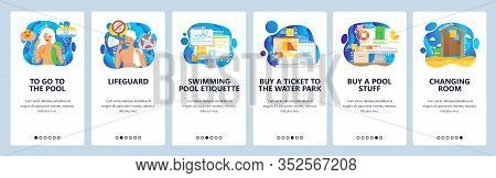 Water Park And Swimming Pool, Lifeguard, Pool Safety Rules, Changing Roo, . Mobile App Onboarding Sc