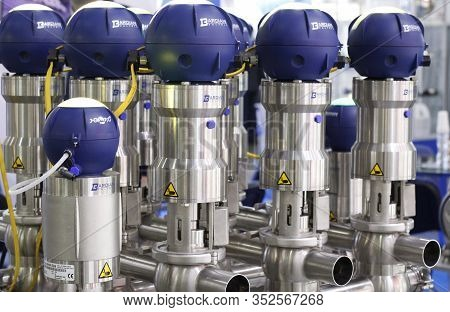 Moscow, Rf, 02.20.2020: Valves For Use In The Food, Dairy, Chemical, Pharmaceutical Industries. Valv