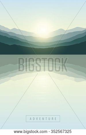 Beautiful Sunrise By Peaceful Lake On Mountain Nature Landscape Vector Illustration Eps10