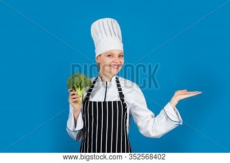Woman Eating Broccoli. Turn Broccoli Into Favorite Ingredient. Restaurant And Hotel Service. Broccol