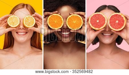 Collage With Cheerful Diverse Bare Shouldered Young Women Covering Eyes With Slices Of Various Citru