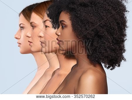 Side View Of Young Multiracial Calm Female Models With Naked Shoulders And Perfect Healthy Skin On L