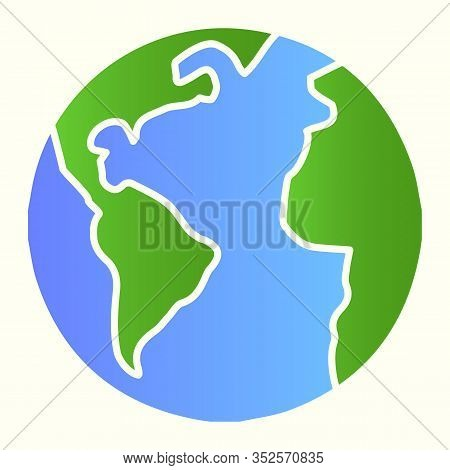 Planet Earth Line Icon. World View With Oceans And Continents. Astronomy Vector Design Concept, Outl