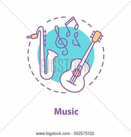 Music Concept Icon. Music Festival Or Concert Idea. Thin Line Illustration. Symphony Orchestra. Guit