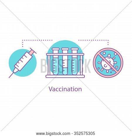 Vaccination Concept Icon. Scientific Or Diagnostic Research Idea. Thin Line Illustration. Laboratory