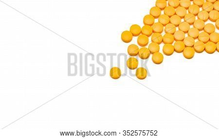 Pain Killer Tablets Pills On White Background. Healthcare Concept. Painkiller Medicine. Nsaids For A