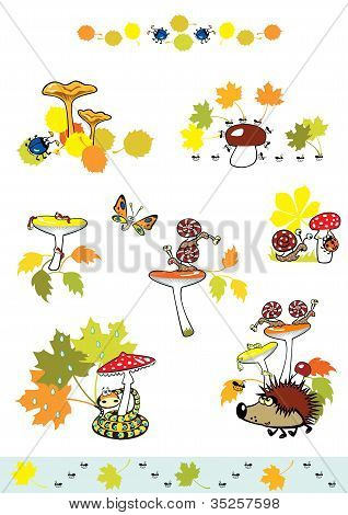 mushrooms with little creatures