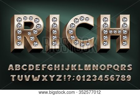 Rich Alphabet Font. 3d Gold Metal Letters And Numbers With Diamonds. Stock Vector Typeset For Your D