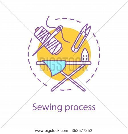 Sewing Process Concept Icon. Tailoring Idea Thin Line Illustration. Needlecraft. Dressmaking. Vector