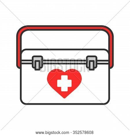 Organ Transplant Case Color Icon. Transplantation. Organ Donation. Isolated Vector Illustration