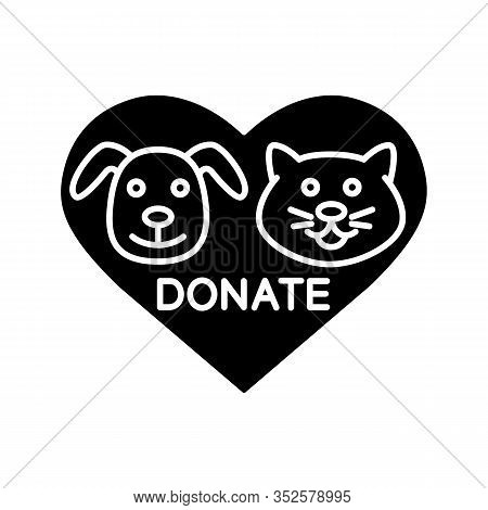 Donation For Pets Glyph Icon. Silhouette Symbol. Animals Welfare. Heart With Cat And Dog Snouts Insi