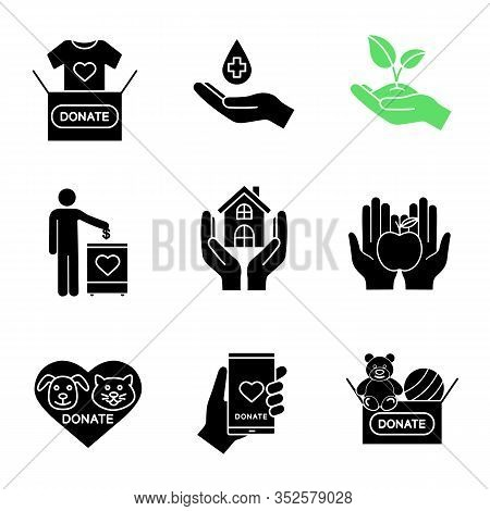 Charity Glyph Icons Set. Silhouette Symbols. Blood, Toys, Clothes, Food Donation, Greening, Fundrais