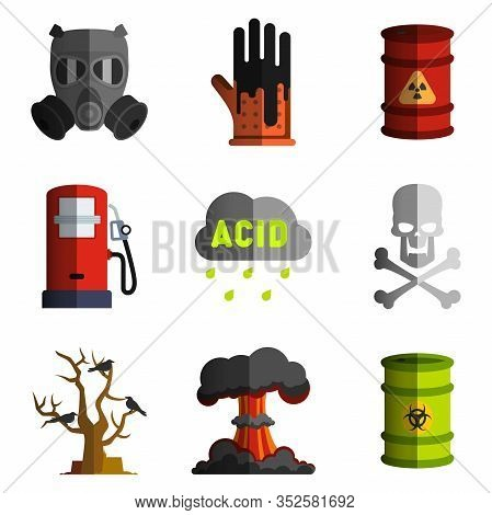Set Of Vector Bad Ecology Icon Image Objects