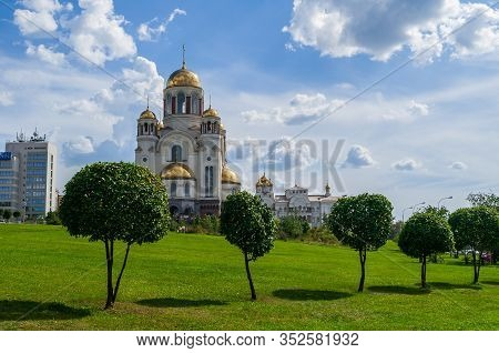 YEKATERINBURG, RUSSIA - AUGUST 17, 2013. The Church on Blood in Honour of All Saints Resplendent in the Russian Land in Yekaterinburg, Russia. The church commemorates the Romanov sainthood.