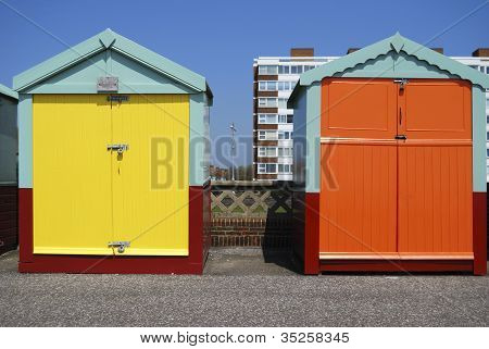 Beach Huts On Hove Seafront. UK