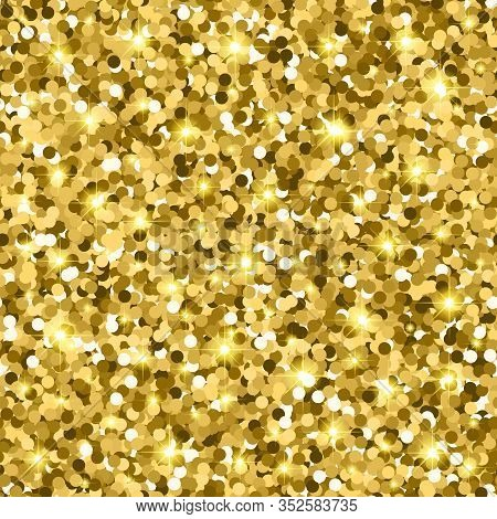 Gold Glitter Seamless Pattern With Confetti And Sparkle. Golden Gloss Texture. Vector Illustration B