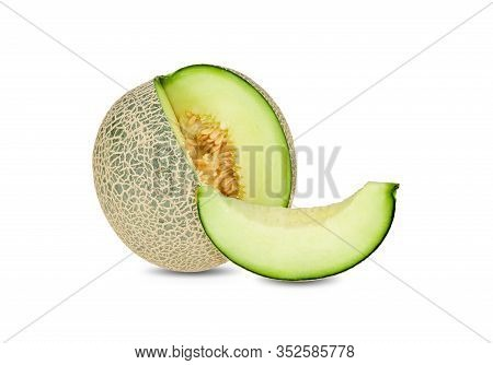 Whole And Sliced Green Melon On White Background