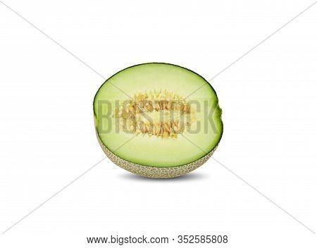 Half Cut Green Melon On White Background