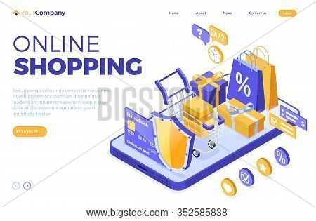 Isometric Online Shopping, Delivery, Logistics Concept. Smartphone With Bag Online Delivery Goods, G