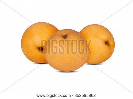 Whole Unpeeled Snow Pear Or Fengsui Pear On White Background