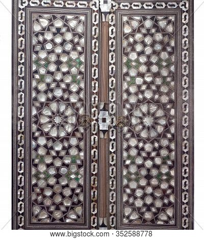 Incrustation With Mother-of-pearl Inlay On The Ancient Door In Oriental Style