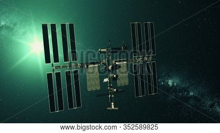 International Space Station charging solar battery. Pan right of realistic ISS with array. Star twinkle view from outer cosmos. 3d render animation. Elements of this media furnished by NASA