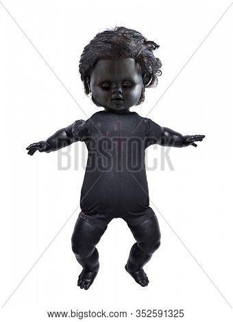 Creepy doll isolated on white background