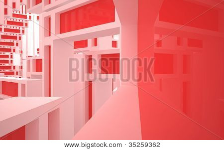 The abstract architecture of the building with red windows