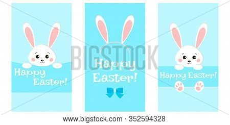 Sweet White Easter Bunny Rabbit Looks Out On Blue Background Greeting Card Set. Funny Hare In Cartoo