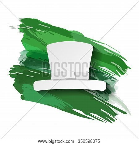 The Silhouette Of The Hat On A Background Of Green Brushstrokes