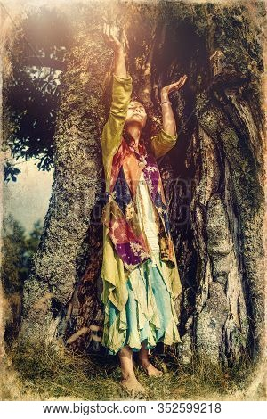 Beautiful Shamanic Girl In The Nature, Old Photo Effect.