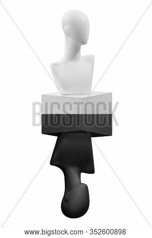 The Mannequin Figure In White And Black Position. Abstract Mannequin Figure. Two States. The Concept
