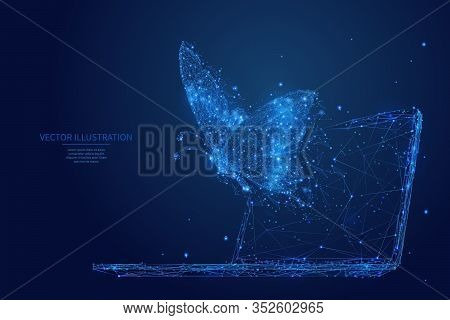 Abstract Polygonal Butterfly Flies Out Display Of Laptop. Blue Low Poly Wireframe Digital Vector Ill