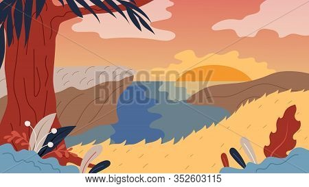 Nature Background With Landscape, River, Tree And Sunset. Panorama Of Nature Landscape Valley On Sun